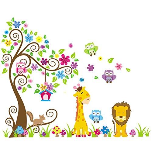 Rainbow Fox Jungle pared del árbol del búho pegatina de desplazamiento decoración animales arbolado vivero de arte mural para la decoración de las muchachas de habitación del bebé extraíble (230cmx150cm)
