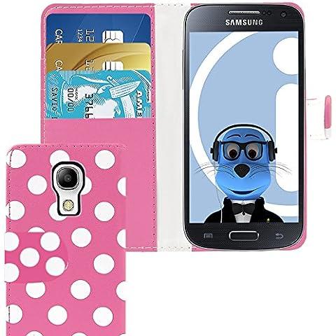 iTALKonline Samsung i9190 Galaxy S4 Mini PU Pelle ROSA BIANCO POIS Vibrazione esecutivo Wallet Case Cover Prenota con Carta di Credito / porta biglietti da visita