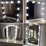 kit de lumière LED pour miroir de courtoisie de Hollywood pour maquillage, lampe pour miroir cosmétique, lampe de coiffeuse table,4 mètres,10 ampoules LED, miroir non inclus [Classe énergétique A+]