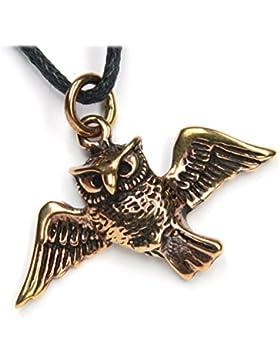 Eule fliegend Schmuck Anhänger Bronze, Länge mit Öse: 2,5cm, inkl. Band