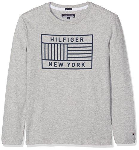 Tommy Hilfiger Jungen T-Shirt Ame 1 Col Print CN Tee L/S, Grau (Grey Heather 004), 152 (Herstellergröße: 12) (Ames Ärmel Lange)
