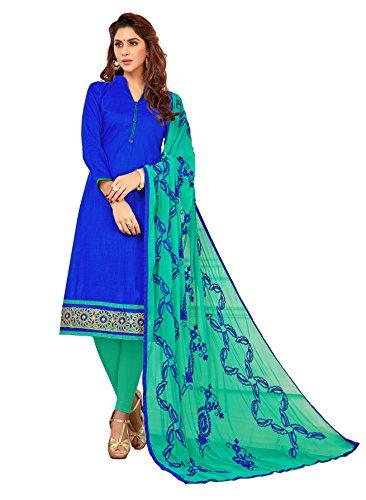 Priyavadhu Women's Slub Cotton straight Unstitched Salwar kameez Dress material (BLFNC07_Royal Blue_Free...