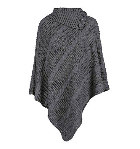 Bottoni da collo, morbido, lavorato a maglia, filo grosso, senza Swawl-Cartamodello per Poncho Grigio