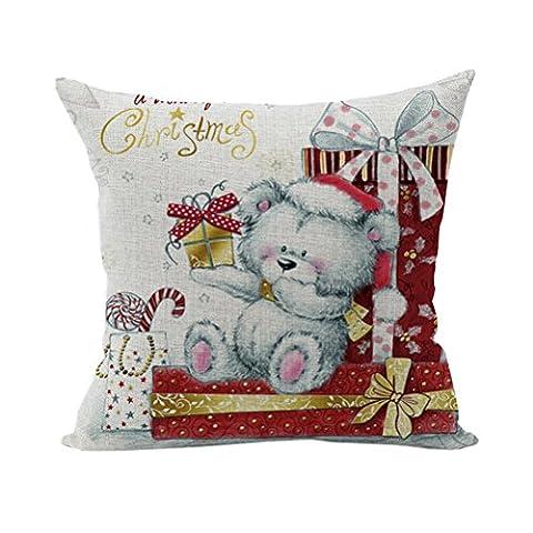 Nunubee Cotton Linen Maison Carré Oreiller Décor Doux Taie d'oreiller Décoratif Sofa Housse De Coussin Noël Ours 2