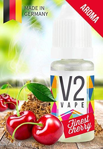 V2 Vape Finest-Cherry Tabak Konzentrat hochdosiertes Premium Lebensmittel-Aroma zum selber mischen von E-Liquid / Liquid-Base für E-Zigarette und E-Shisha 10ml 0mg nikotinfrei Aroma Pfeife