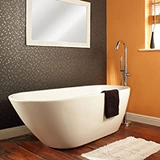 Milano Irwell - White Contemporary Freestanding Curved Oval Design Bath Tub with Chrome Push Button Waste - 1670mm x730mm x 580mm