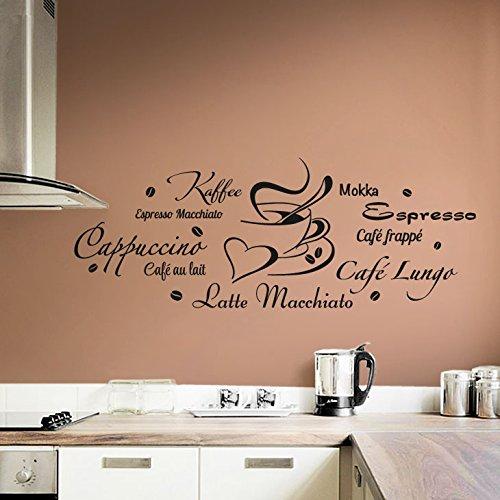 Wandaro E024 Wandtattoo Wandaufkleber Küche Cappuccino Espresso Latte Macchiato + Tasse haselnussbraun (BxH) 150 x 56 cm