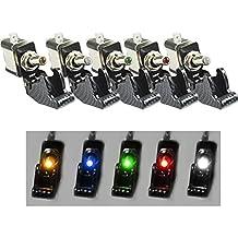 Amison 5pcs 12V 20A Coche Camión Fibra de carbon Luz LED Interruptor de palanca SPST, 5 colores