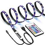 AMIR TV Back Light, 30 LED RGB Lights Strip, USB Bias Lightings with Multi Color Changing, Versatile Remote Control, Waterproof IP65, for TV Screen, Desktop, PC, Gaming