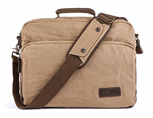 Bag Laptop-tasche Satchel (Gootium Leinwand Laptop Schultertasche/Messenger Bag mit Leder Griffe für Männer und Frauen, 40cm, Khaki)