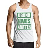 lepni.me Singlete Drunk Lives Matter Funny Saint Patricks Vêtements de Jour de St Patty (XS Blanc Multicolore)