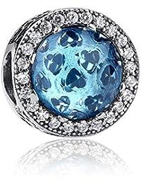 Fancygems Bleu ciel lumineux Hearts Charm pour bracelet Pandora