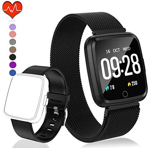banduhr mit Herzfrequenz, Fitness Tracker, Bluetooth Sportuhr Aktivitätstracker Schrittzähler, Schlaf Monitor, Kalorienzähler, Pulsuhr für Android/iOS[2 x Replaceable Watch Strap] ()