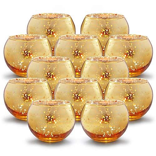 """GUIFIER 12 PCS Mercury Glas Votive Kerze Teelichthalter Glas Quecksilber Kerzenhalter Gesprenkelt Gold Teelicht Kerzenhalter 2\"""" H für Hochzeits-Dekoration, Partys und Home Décor"""