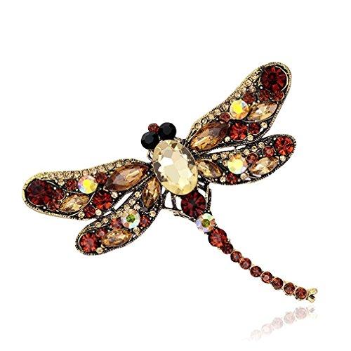 Libelle Vintage-kleidung (MJARTORIA Damen Libelle Zirkonia Brosche Vintage Anstecker Pin)