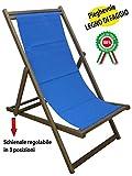 Savino Filippo Sedia sdraio prendisole in legno noce marrone tela blu pieghevole per spiaggia campeggio piscina da mare