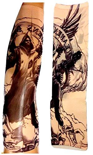 Manicotto tattoo - manica - tatuaggio finto - angelo - morte - scheletro - teschio - ali - mitra - scritta - tatoo - mezza manica - tribale - idea regalo natale compleanno - w73