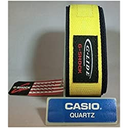 Casio G-shock Glide G-lide Dw-003v-9v Nylon Watchband 23mm Yellow on Blue Authentic Casio Velcro Band