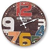 La sala del reloj de pared de madera decoracion retro informe creativo mudo moderno reloj de cuarzo de mesa,Diametro 30cm