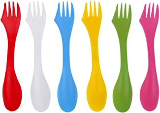 Segolike 6 Pieces / Set BPA-Free Camping Spork Utensils Spoon Travelling Picnic Gadget Cutlery Plastic Outdoor Tool