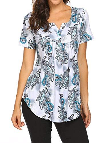 Avacoo Damen Kurzarm T Shirt Paisley V-Ausschnitt Tops Tunika Baumwolle Bluse Weiss XXL
