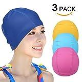 PU-Beschichtung Badekappe (3 Stück), Lycra reine Farbe Schwimmen Hut für Erwachsene Männer Frauen ältere Jungen und Mädchen (zufällige Farbe)