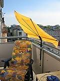 NEUES MODELL AB 2018 - STABIELO - Stuhl - Sonnenschirm - Fächerschirm gelb mit Lasergefertigter 360 ° Holly 5 - fach im Radius verstellbarer Multihalterung (35 EUR) zur Befestigung an runden oder eckingen Elementen bis Ø 55 - 60 mm - HOLLY PRODUKTE STABIELO - INNOVATIONEN MADE in GERMANY -