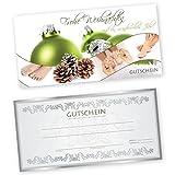 50 Weihnachtsgutscheine Gutscheinkarten XMAS GREEN FUßPFLEGE mit weißtransparenten Umschlägen für Fußpflegestudio Gutscheine Geschenkgutscheine