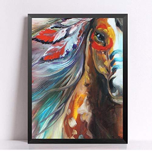 Cuadro moderno caballo indios lona Pintura arte pared
