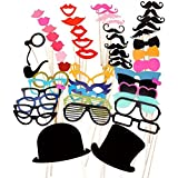 PIXNOR 51Pcs bricolaje gafas graciosas bigote labios rojos pajaritas sombreros fumando pipas en palitos boda cumpleaños fiesta Photo Booth Props