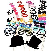 263fead922795 PIXNOR 51Pcs bricolaje gafas graciosas bigote labios rojos pajaritas  sombreros fumando pipas en palitos boda cumpleaños