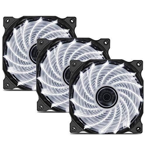 upHere 120mm Silent Lüfter für Computergehäuse, CPU-Kühler und Kühler Ultra High Quiet Airflow 15LED Computer Gehäuselüfter, 3- Pack WEISS(15W3-3)