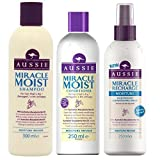 Aussie Miracle umido TRIO Shampoo 300ml BALSAMO 250ml & Miracle umido senza risciacquo Condizionante Spray 250ml