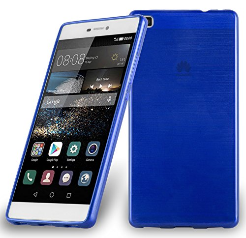 Preisvergleich Produktbild Cadorabo DE-105051 Huawei Ascend P8 Handyhülle aus TPU Silikon in gebürsteter Edelstahloptik (Brushed) Blau