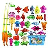 Angelspielzeug 32 Stück Magnetische Angelspielzeug Rod Modell Oceanic Net Fisch Baby Badezeit...