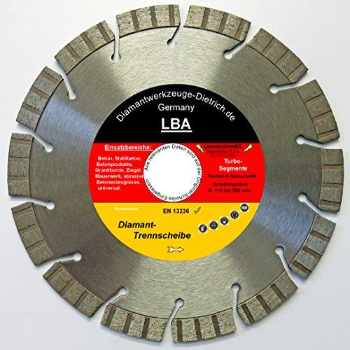 Diamanttrennscheibe im Trennscheibenshop Trennscheibe LBA_Ø 150 mm, B= 22,23 mm, BR= 2,4 mm, Turbo Segmenth. 13 mm, Granitborde, Stahlbeton, universal etc. Trocken- Nassschnitt,