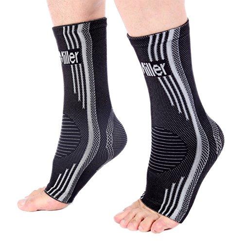 Doc Miller Aparatos ortopédicos de soporte para el tobillo. Calcetines para pie plantar hinchado fascitis tendinitis de Aquiles Grande Gris