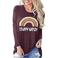 Yying De Las Mujeres Camiseta Manga Larga con Estampado De Arcoíris Blusas Causales De Cuello O Tops Tamaño S-XL