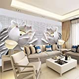 Wapel Für Wände 3D Flash Silber Seide 3D TV Vertrag Sitzen White Lotus Blumen Wandbild Tapeten 200Cmx 140Cm
