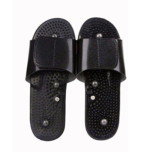 Entspannen Sie sich komfortabel Elektrode Massage Hausschuhe Massagegerät Maschine Physiotherapie Körper Fuß entspannende Gummi, schwarz