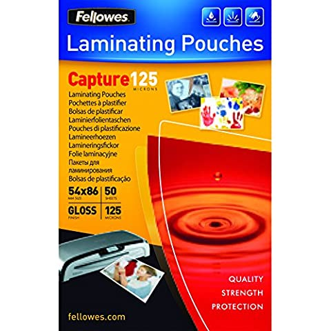 Fellowes Glossy Pouches 54 x 86mm 50 pcs. 125 mµ - Plastificador