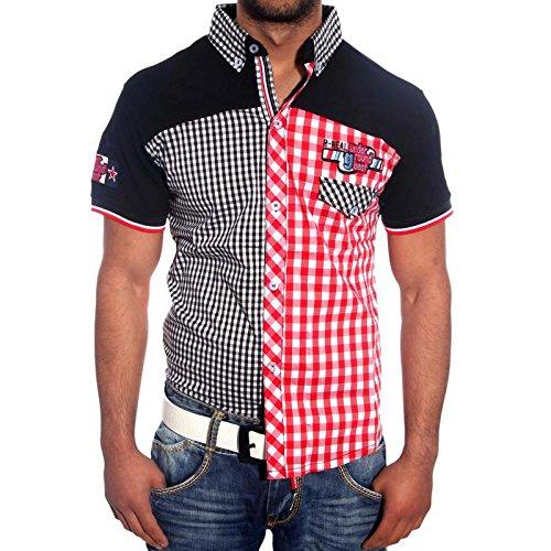 R-Neal Hemd Slim Fit Kurzarm Polo Shirt T-Shirt 8221 Schwarz/Weiß/Grau Hoody, Größe:XL;Farben:Schwarz/Rot (Polo Hoody)