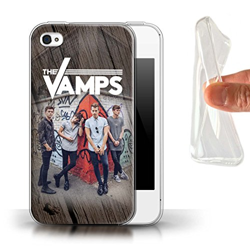 Officiel The Vamps Coque / Etui Gel TPU pour Apple iPhone 4/4S / Pack 6pcs Design / The Vamps Séance Photo Collection Effet Bois