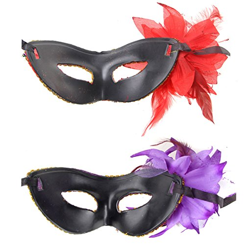 BundleMall Masquerade Venetian Halloween Masks Mardi Gras Evening Prom Party Masks pack of 7  Color 9-7pc