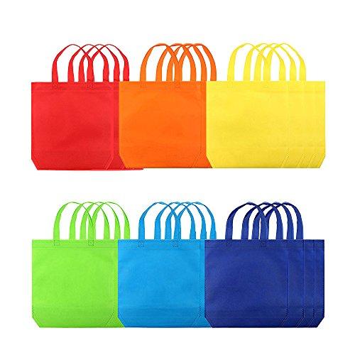 Eizur Party Geschenk Taschen, 24 Stück 6 Farben Wiederverwendbare Tragetaschen Lebensmittelgeschäft Taschen Nicht-gewebte Stoff mit Griff für Party Weihnachten Hochzeit Andere Festivals