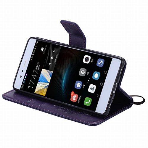 LEMORRY Huawei P9 Custodia Pelle Cuoio Flip Portafoglio Borsa Sottile Bumper Protettivo Magnetico Morbido Silicone TPU Cover Custodia per Huawei P9, Fiorire Nero Viola