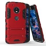 Funda para Motorola Moto G5 (5 Pulgadas) 2 en 1 Híbrida Rugged Armor Case Choque Absorción Protección Dual Layer Bumper Carcasa con pata de Cabra (Rojo)