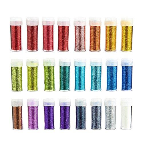 juvale Arts und Crafts feines Glitter Glitzer Staub, lösungsmittelbeständige Glitter Glitzer Puder Shaker für Scrapbooking Kid 's Projekte, 24sortierte Farben, 10Gramm pro Jar -