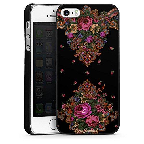 Apple iPhone 5s Housse Étui Protection Coque Lena Hoschek Motif floral Ornements CasDur noir