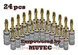 MutecPower 24x 24K vergoldet Bananenstecker für Lautsprecherkabel - Bananas für Lautsprecherkabel, Wandplatte, AV Receiver & mehr 24 Stuck (12 rot & 12 Schwartz)